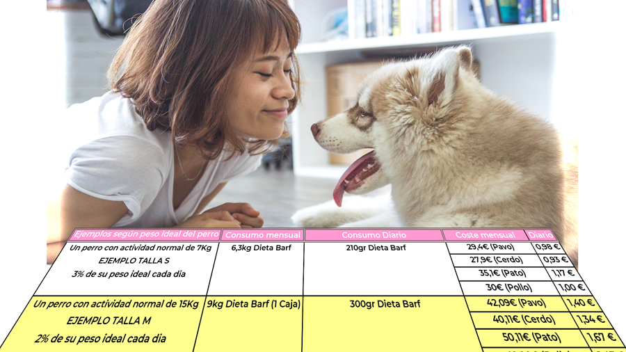 Cantidades Dieta Barf para perros